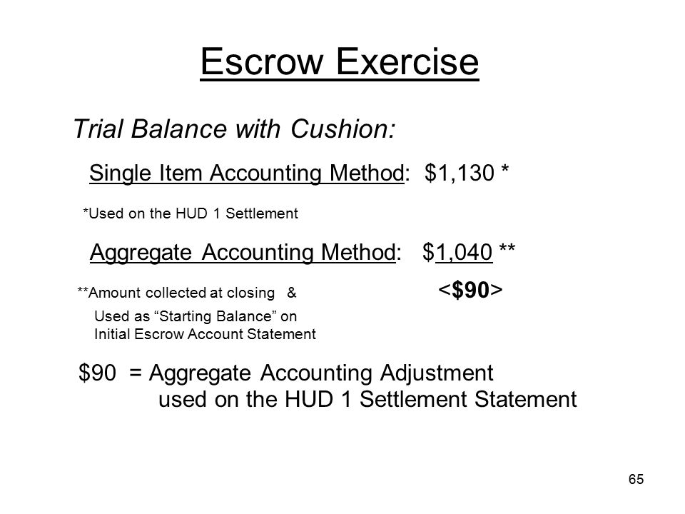 Escrow Exercise Trial Balance with Cushion: