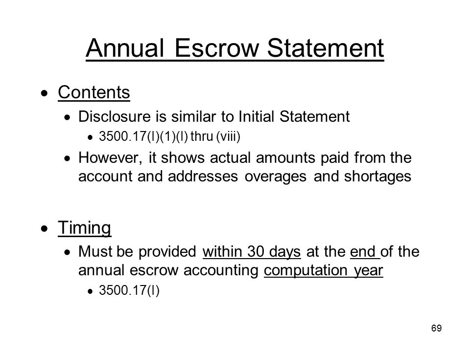 Annual Escrow Statement