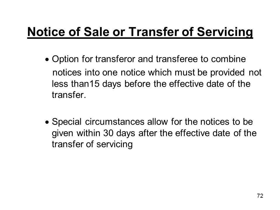 Notice of Sale or Transfer of Servicing