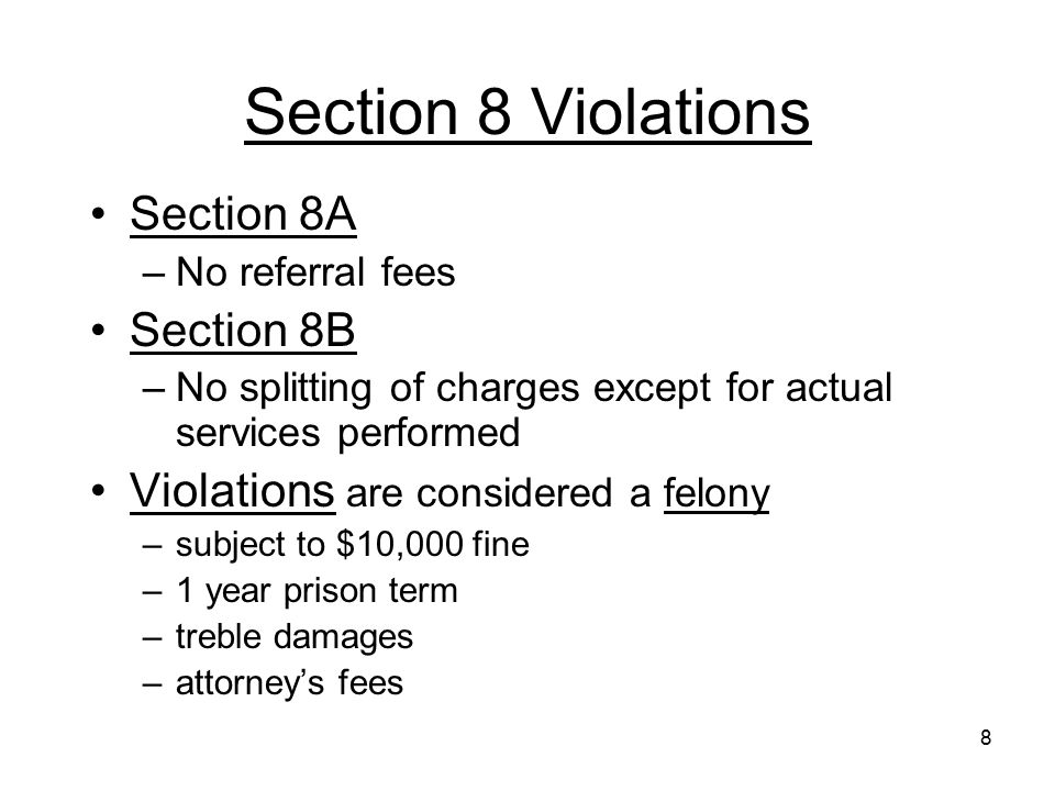 Section 8 Violations Section 8A Section 8B