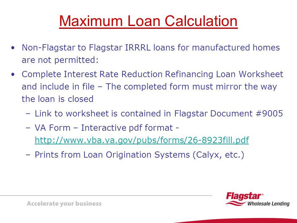 Presenting VA Interest Rate Reduction Refinancing Loans IRRRLs – Va Irrrl Worksheet