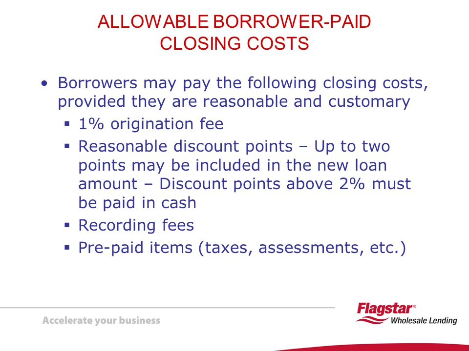 ALLOWABLE BORROWER-PAID CLOSING COSTS
