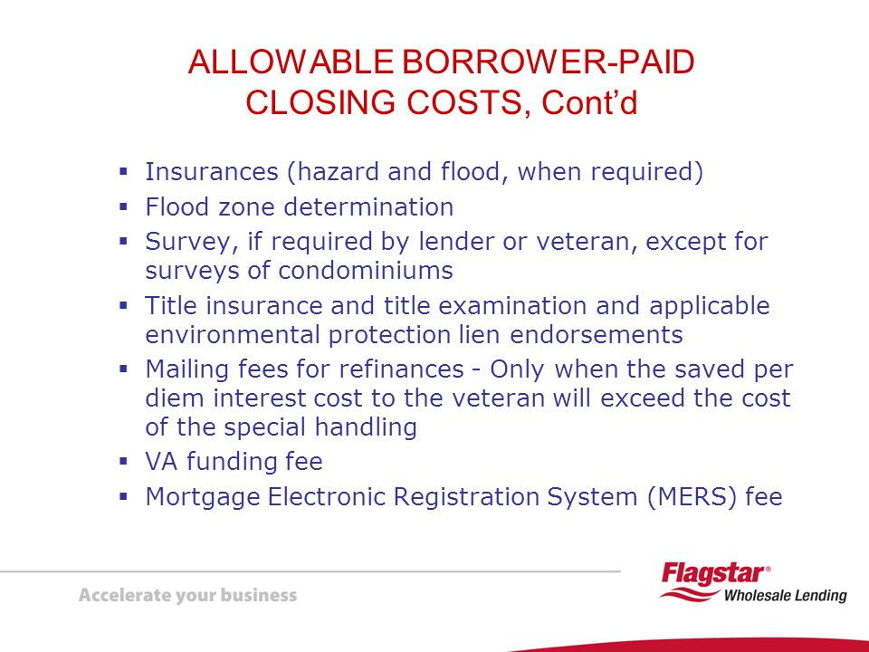 ALLOWABLE BORROWER-PAID CLOSING COSTS, Cont'd