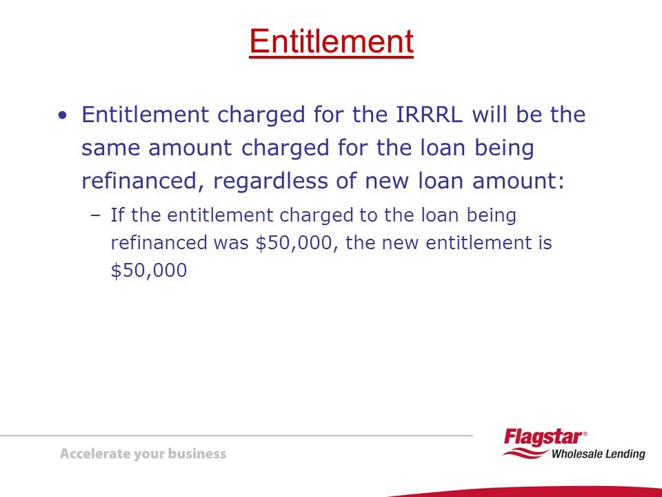Entitlement Entitlement charged for the IRRRL will be the same amount charged for the loan being refinanced, regardless of new loan amount: