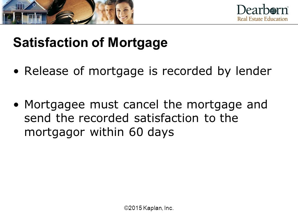 Satisfaction of Mortgage