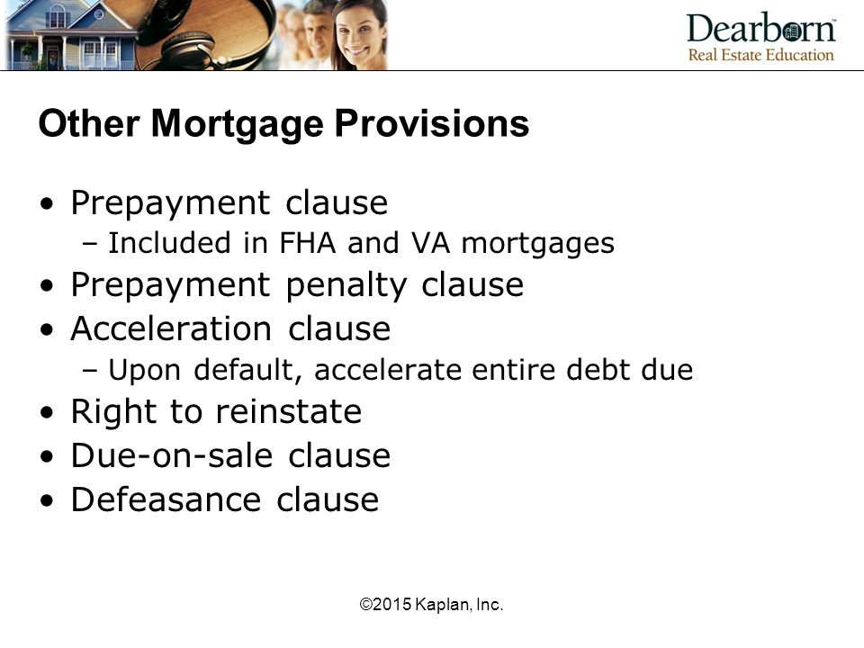 Other Mortgage Provisions