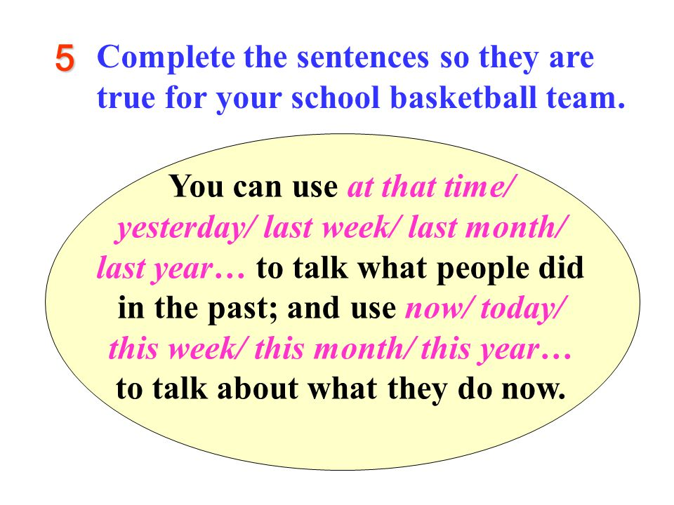 5 Complete the sentences so they are true for your school basketball team.
