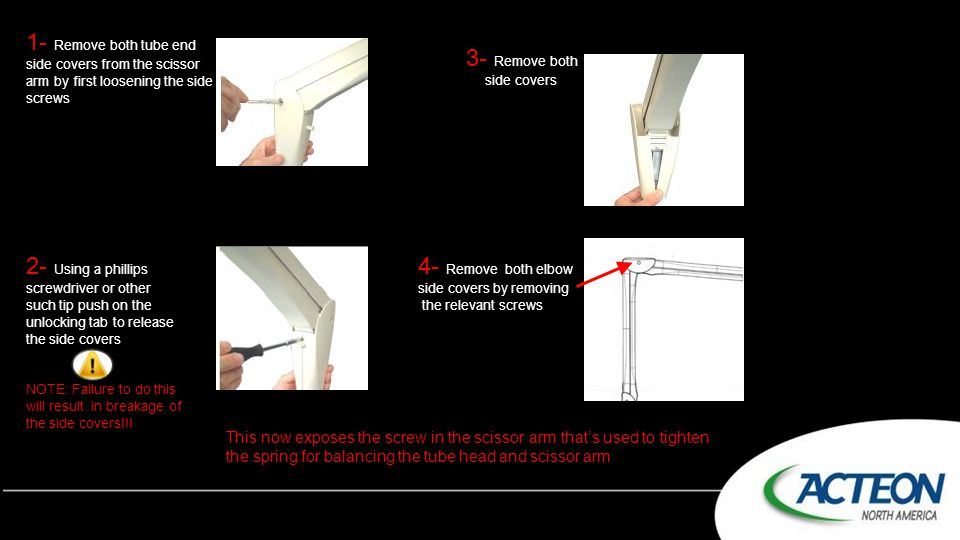 1- Remove both tube end side covers from the scissor arm by first loosening the side screws