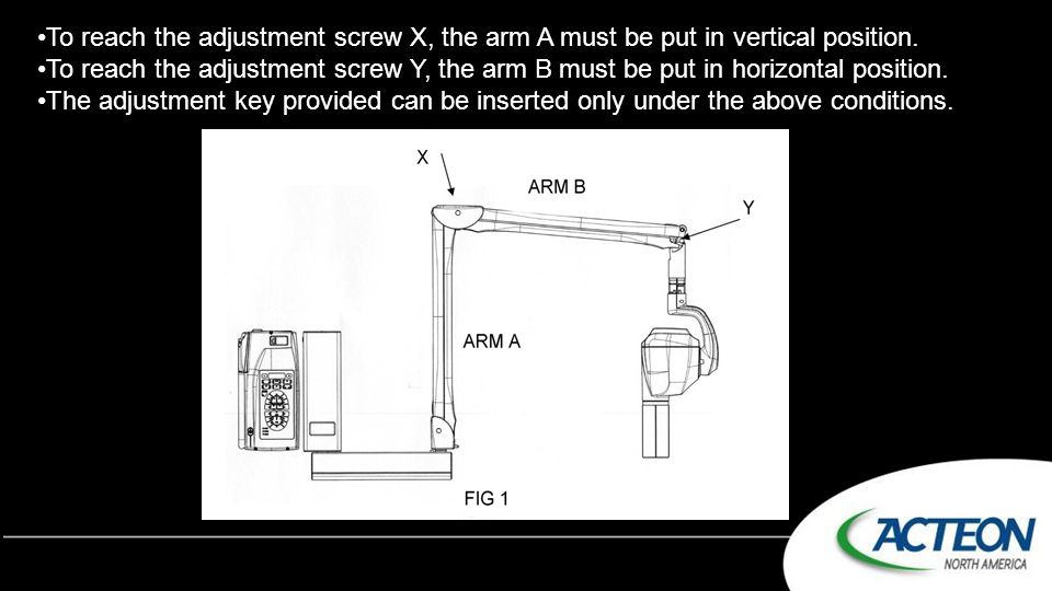 To reach the adjustment screw X, the arm A must be put in vertical position.