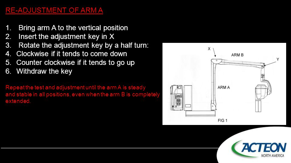 Bring arm A to the vertical position Insert the adjustment key in X