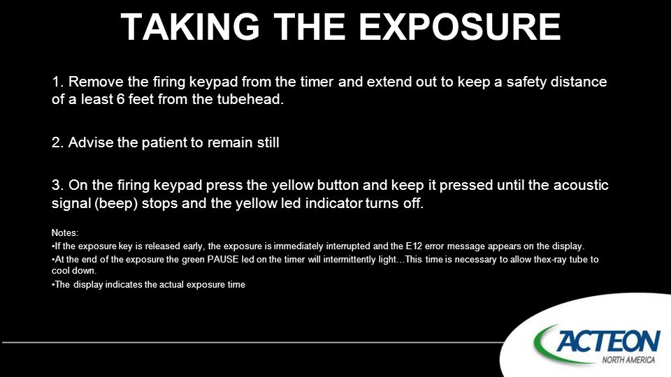 Taking the exposure 1. Remove the firing keypad from the timer and extend out to keep a safety distance of a least 6 feet from the tubehead.
