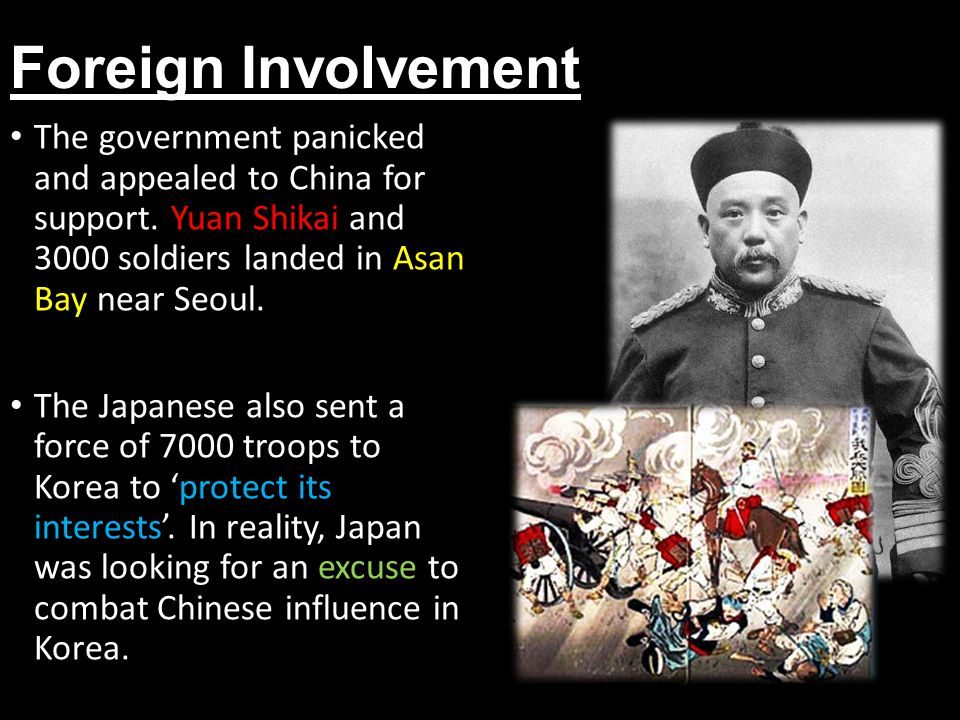 Foreign Involvement The government panicked and appealed to China for support. Yuan Shikai and 3000 soldiers landed in Asan Bay near Seoul.