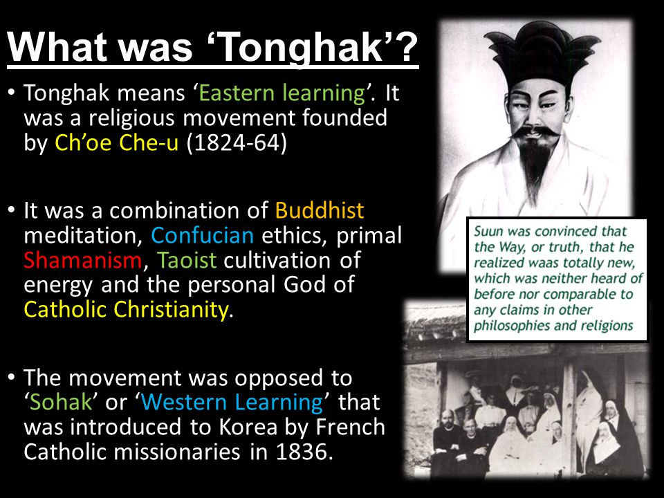 What was 'Tonghak' Tonghak means 'Eastern learning'. It was a religious movement founded by Ch'oe Che-u (1824-64)