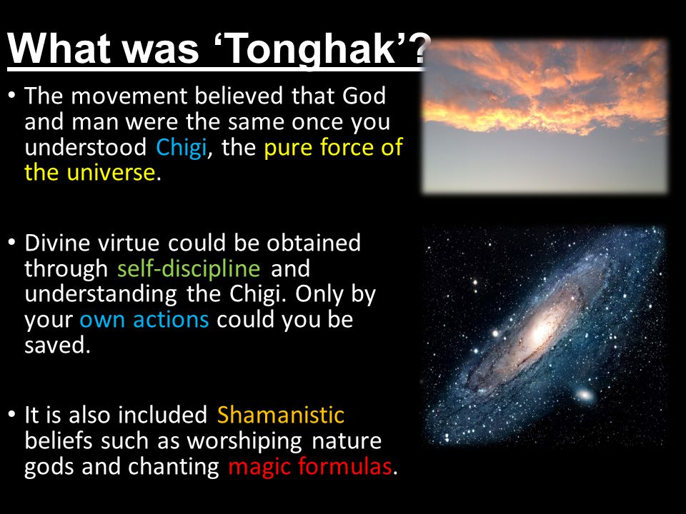 What was 'Tonghak' The movement believed that God and man were the same once you understood Chigi, the pure force of the universe.