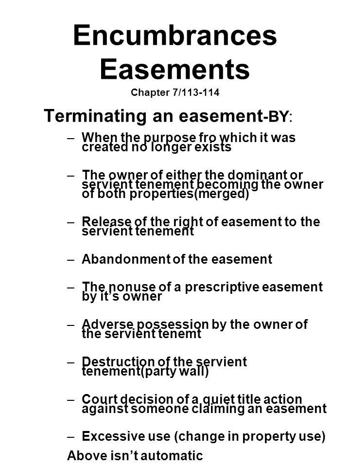 Encumbrances Easements Chapter 7/113-114