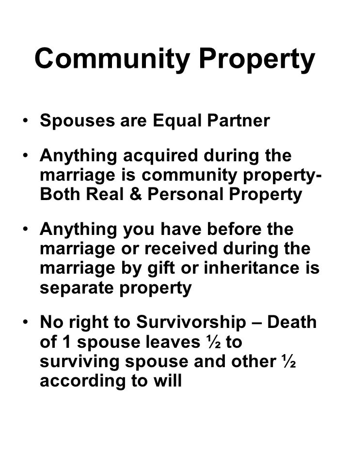 Community Property Spouses are Equal Partner