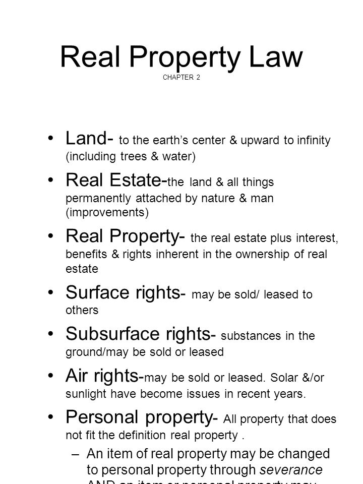Real Property Law CHAPTER 2