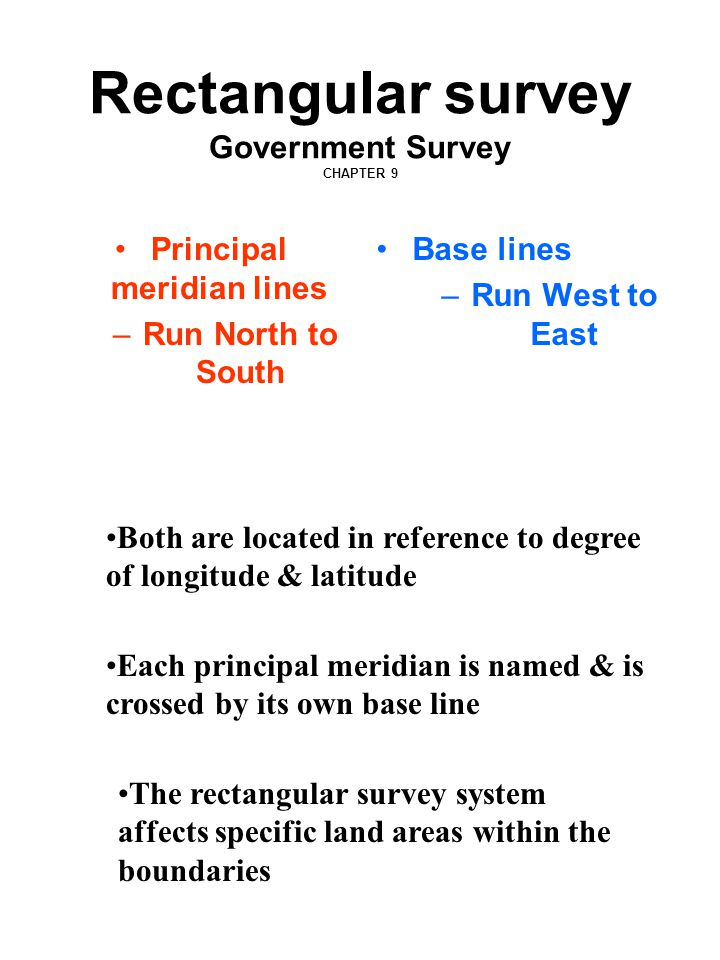 Rectangular survey Government Survey CHAPTER 9