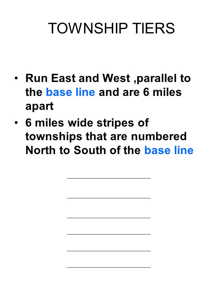 TOWNSHIP TIERS Run East and West ,parallel to the base line and are 6 miles apart.