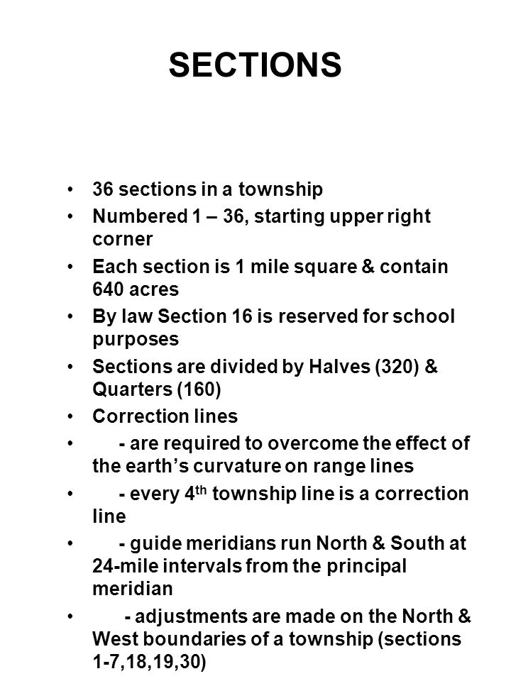 SECTIONS 36 sections in a township