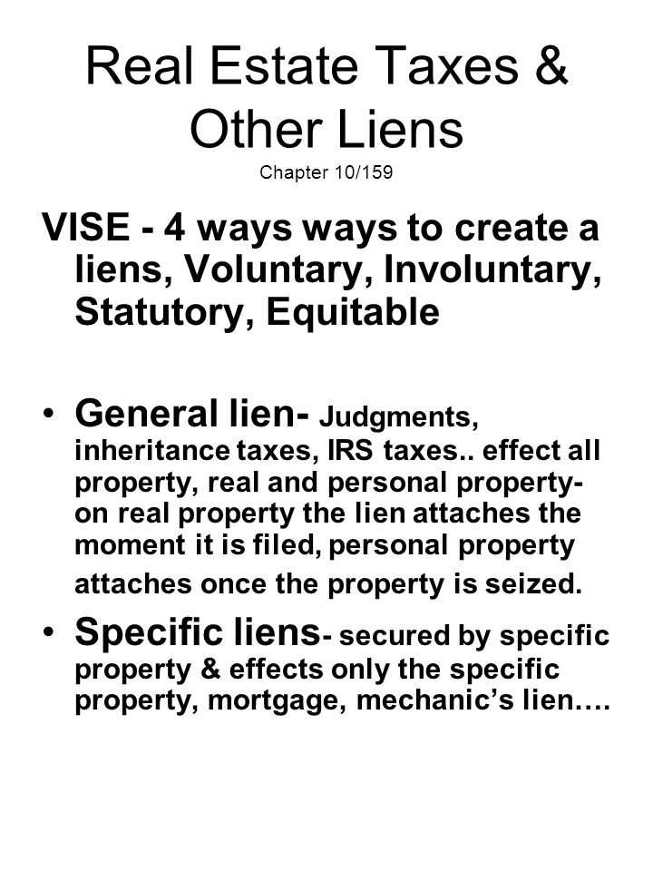 Real Estate Taxes & Other Liens Chapter 10/159