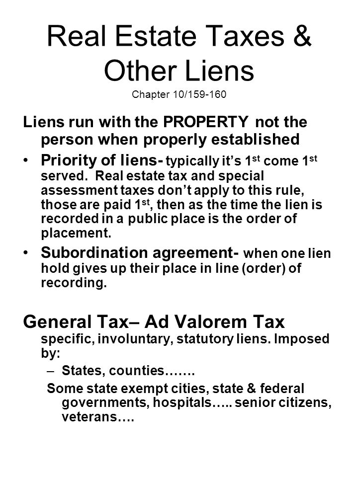 Real Estate Taxes & Other Liens Chapter 10/159-160