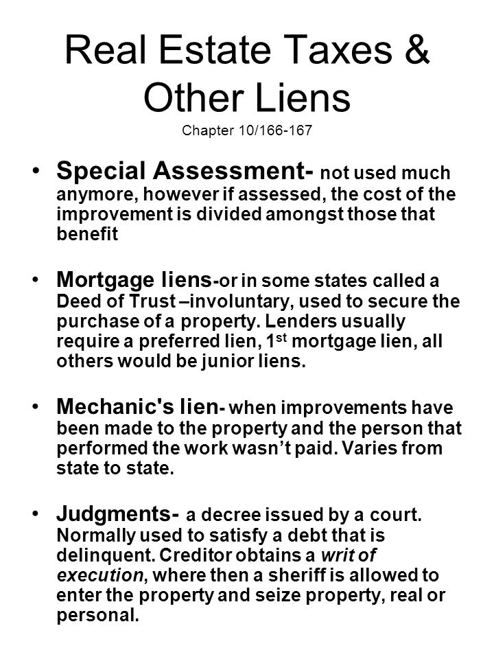 Real Estate Taxes & Other Liens Chapter 10/166-167