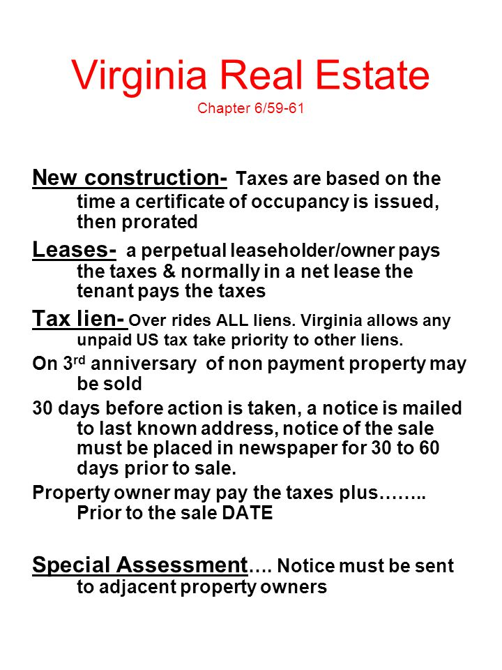 Virginia Real Estate Chapter 6/59-61
