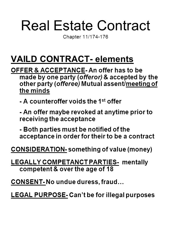 Real Estate Contract Chapter 11/174-176