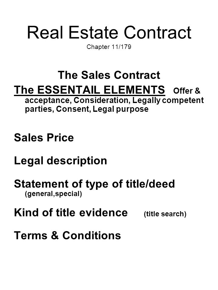 Real Estate Contract Chapter 11/179