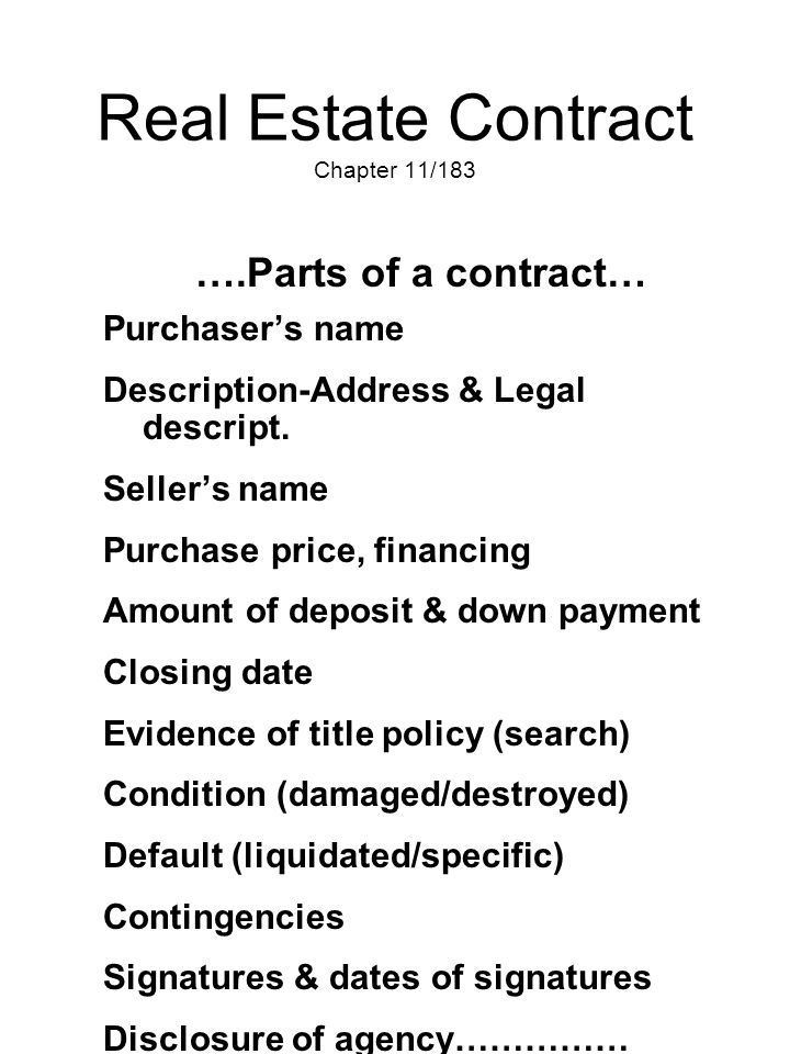 Real Estate Contract Chapter 11/183