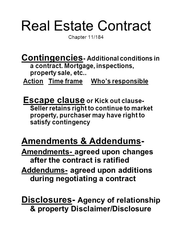 Real Estate Contract Chapter 11/184