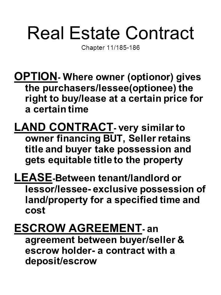Real Estate Contract Chapter 11/185-186