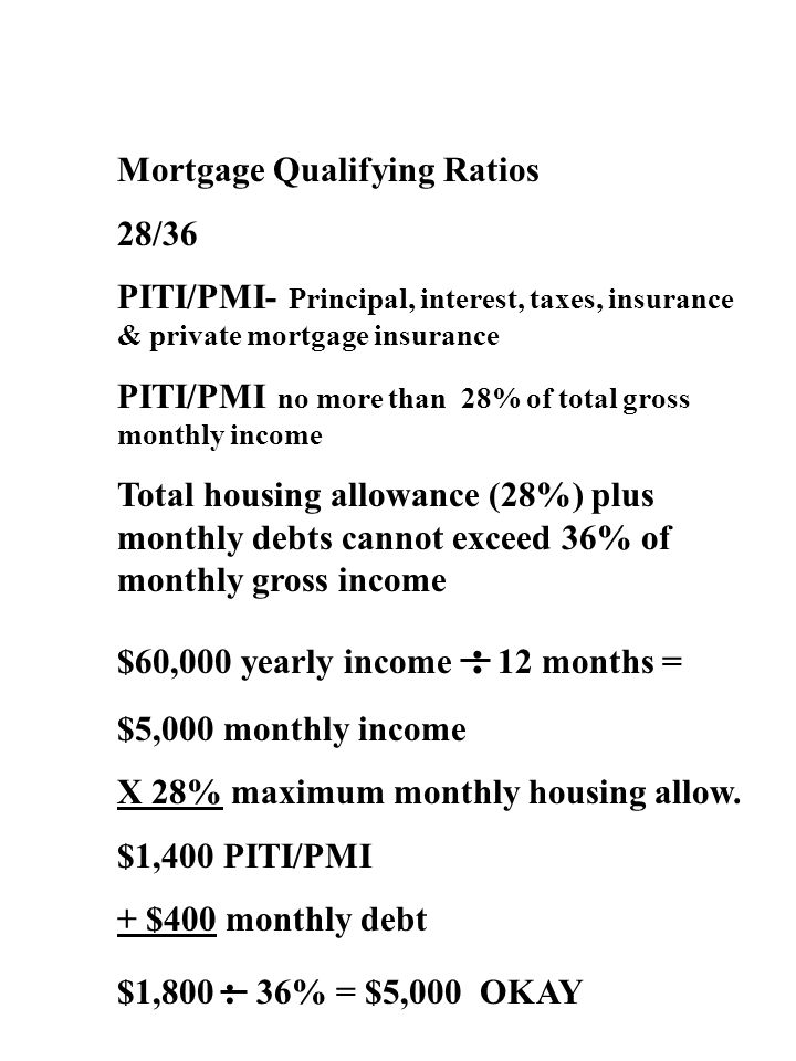 Mortgage Qualifying Ratios