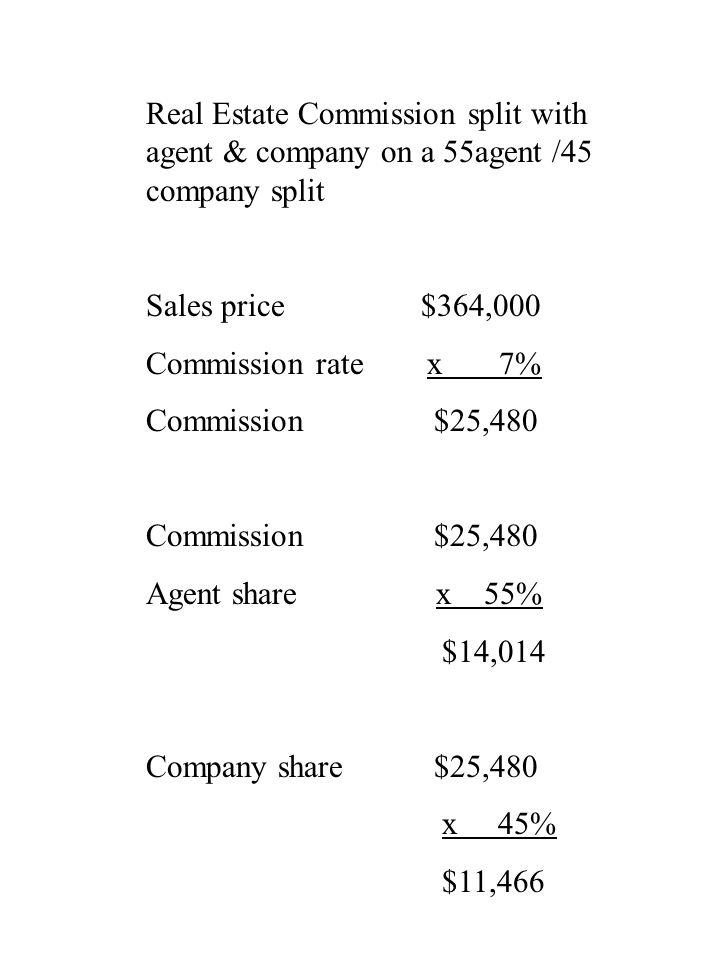 Real Estate Commission split with agent & company on a 55agent /45 company split