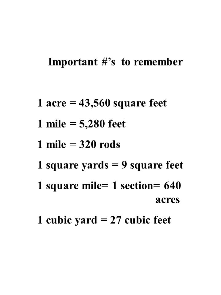 Important #'s to remember