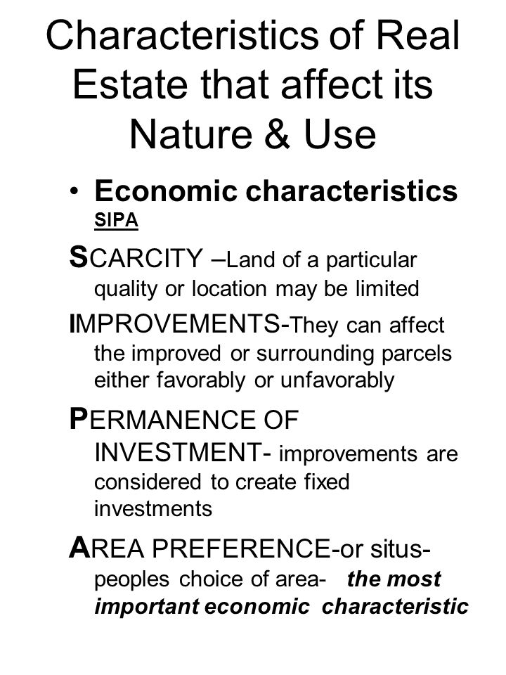 Characteristics of Real Estate that affect its Nature & Use
