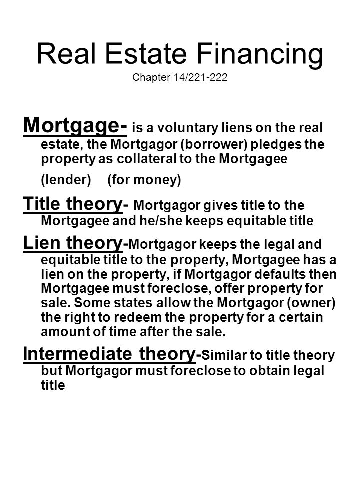 Real Estate Financing Chapter 14/221-222