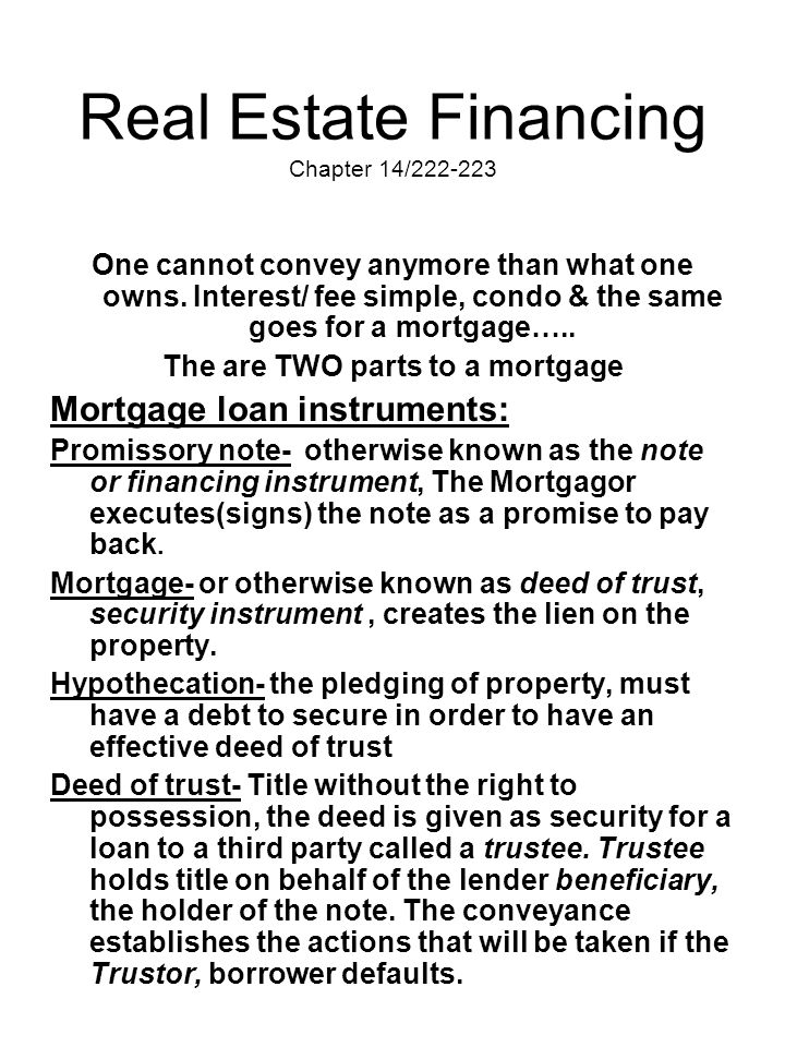 Real Estate Financing Chapter 14/222-223