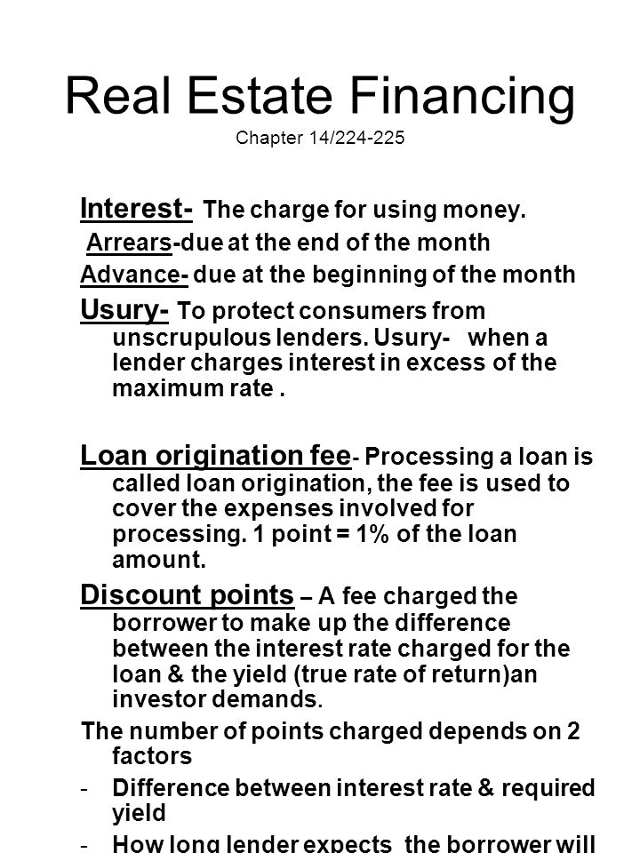 Real Estate Financing Chapter 14/224-225