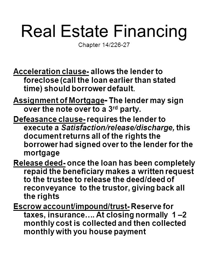 Real Estate Financing Chapter 14/226-27