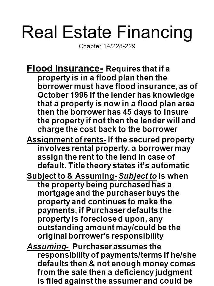 Real Estate Financing Chapter 14/228-229