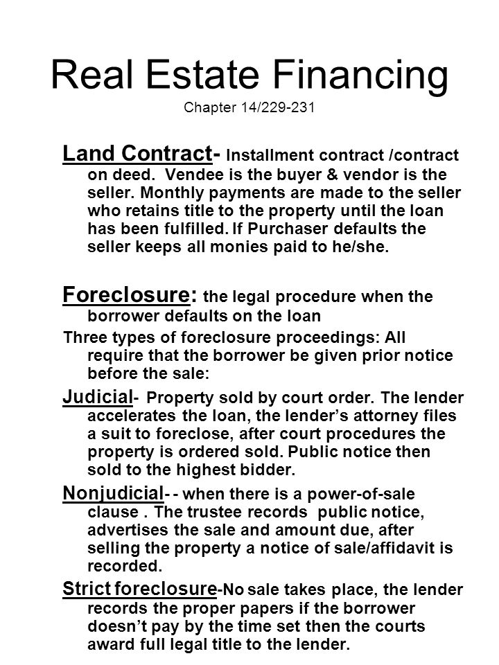 Real Estate Financing Chapter 14/229-231