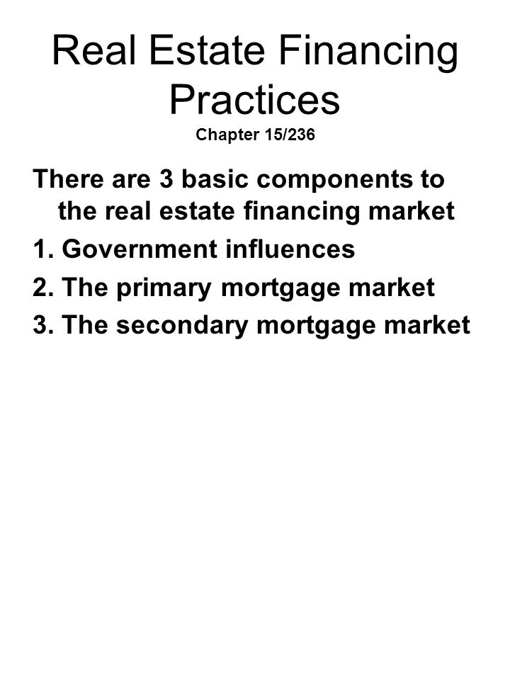 Real Estate Financing Practices Chapter 15/236