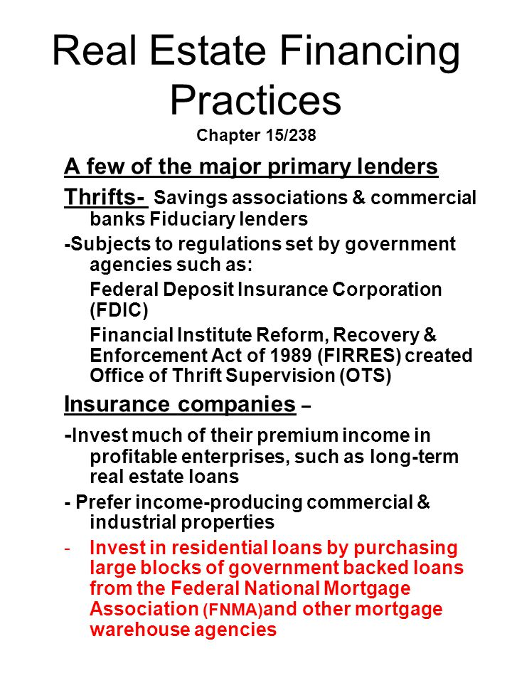 Real Estate Financing Practices Chapter 15/238
