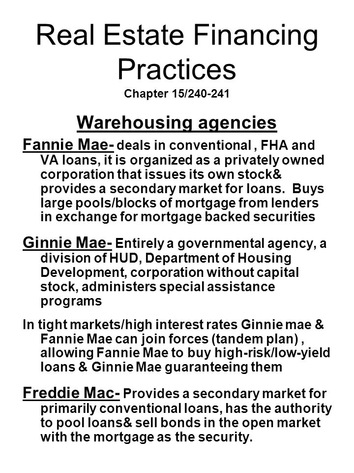 Real Estate Financing Practices Chapter 15/240-241