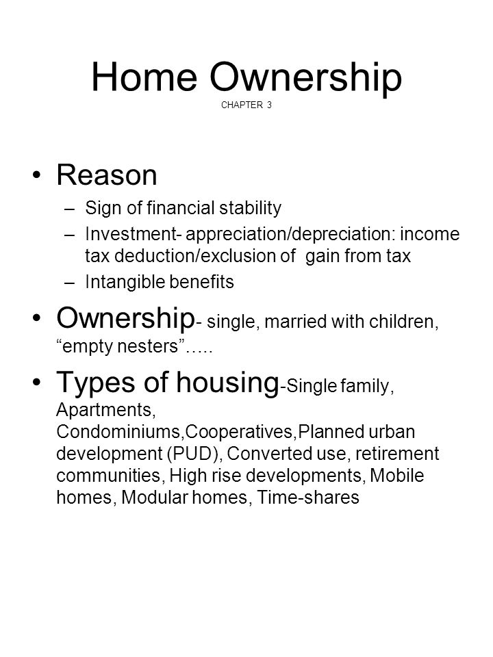 Home Ownership CHAPTER 3