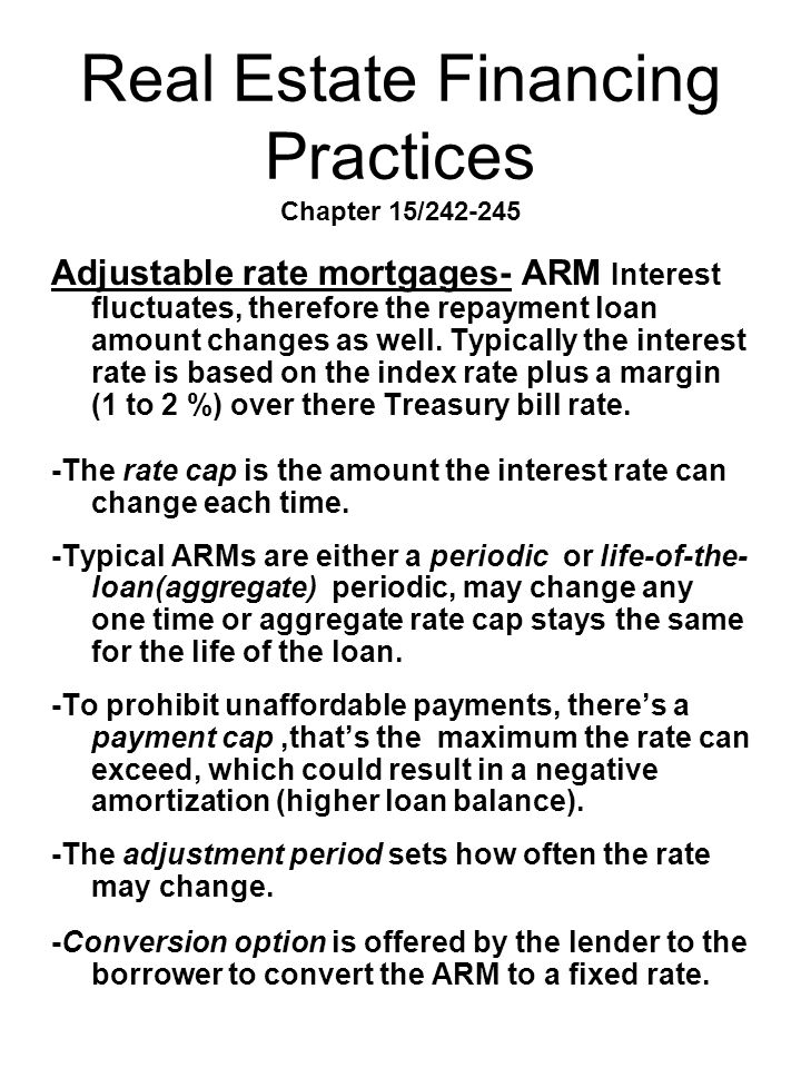 Real Estate Financing Practices Chapter 15/242-245