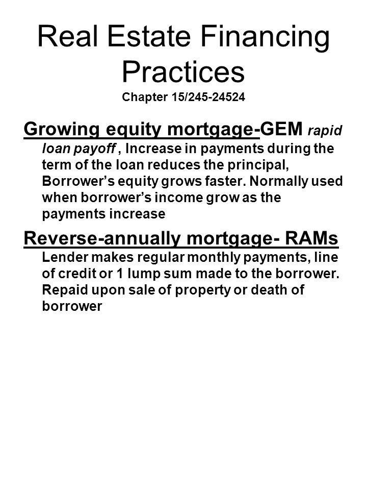 Real Estate Financing Practices Chapter 15/245-24524