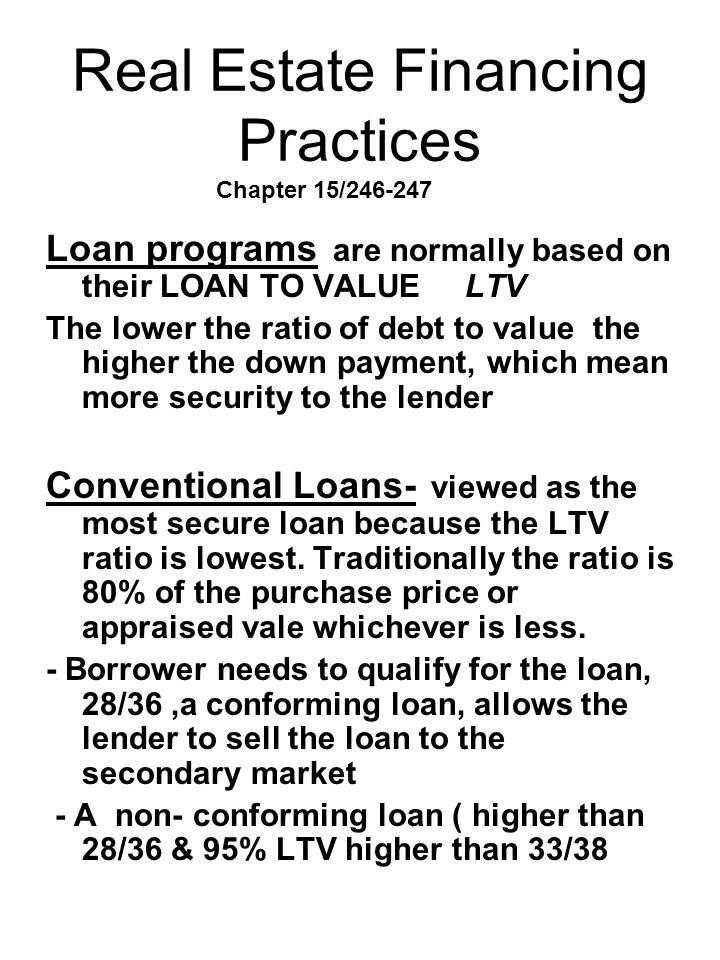 Real Estate Financing Practices Chapter 15/246-247
